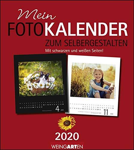 Fotokalender zum Selbergestalten 21,5 x 24 cm: Mit schwarzen und weißen Seiten. Bastelkalender 2020. Monatskalendarium. Spiralbindung. Format 21,5 x 24 cm