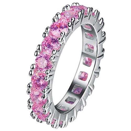 Adisaer Sterling Silber Ringe Verlobungsring Damenring Diamant Trauringe Rosa Bandring mit Stein Größe 57 (18.1) (Saphir Und Diamant Ohrringe Kostüme)