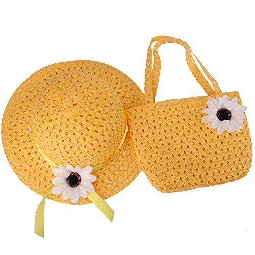 Baby Stroh Sonnenhut YOPINDO Beach Cap mit Handtasche verkleiden sich Hat Geldbörse Set 8 Farbe (9205 ()