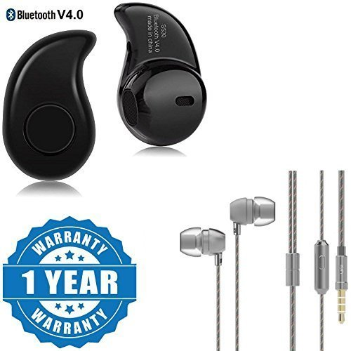 Captcha S530 Mini Plastic and Metal Wireless Bluetooth 4.0 In-Ear Headset with Mic and Super Bass for One Plus 3T(Multicolour)