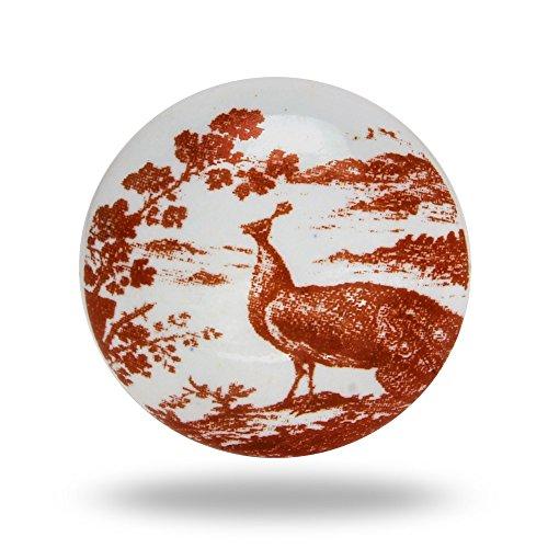 4-er Set - Möbelknopf Möbelgriffe Zubehör Möbelzubehör Keramik Schubladengriff - Pfau rotbraun Pfau Keramik