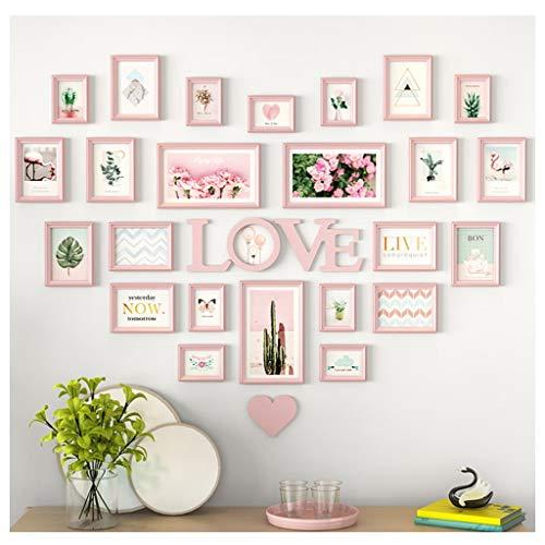 Al coperto muro di foto semplice e romantico, studio del soggiorno, ufficio camera di nozze, parete di fondo a forma di cuore multi-frame senza punch (24pz) metopa (colore : e)