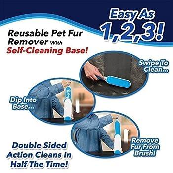 Brosses pour animal domestique, animal domestique fourrure et cheveux Lint Remover Rouleau avec Auto-nettoyage retirer Chien Chat Cheveux (Bleu)