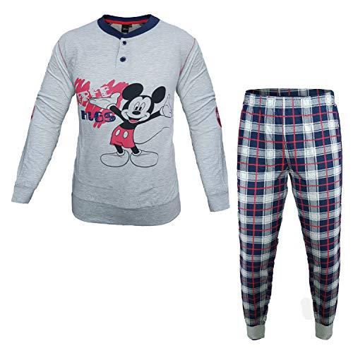 Disney pigiama uomo lungo in cotone jersey topolino/paperino art. wd14071/73 (grigio medio melange, 46/s)