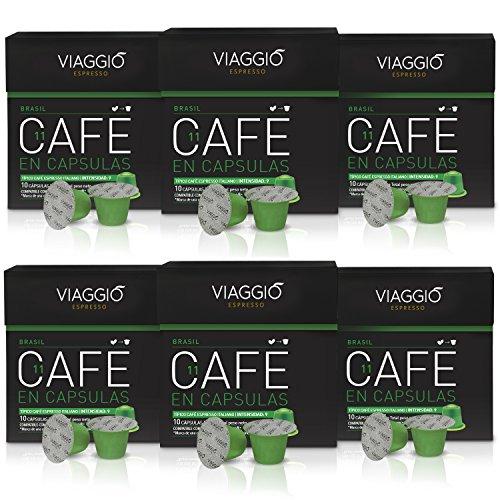 Viaggio Espresso Caffe Compatibili con Macchina Nespresso Brasil - 1 Pacco da 60 Capsule