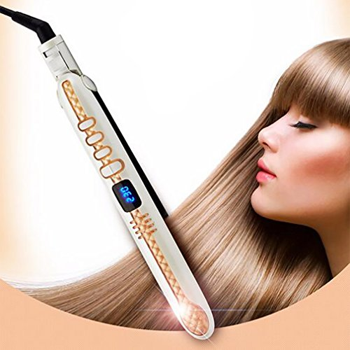 In 1 LCD Display Titanium Platten Glätteisen Glätteisen Styling Werkzeuge Professionelle Haarglätter Haar Culler,Gold ()