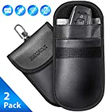 SAMFOLK Faraday Bag for Car Keys (2 Pack) Car Key Signal Blocker Pouch Case, Anti theft Safe Signal Blocking Bag, Keyless Entry RFID Fob Key Security Box Protector