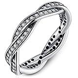 Presentski Anillos Plata Mujer 925 Originales con Circonitas,Plata San valentin Amor Love Pareja Alianzas Boda Compromiso Promesa Mujer Plata Anillo Ring