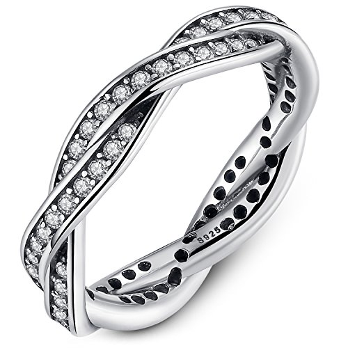 Presentski Hochzeitsringe 925 Sterling Silber Rund Weiß Kristall Zirkonia CZ Ring für Ewigkeit Frauen Damen (Ewigkeit Ringe Weiß Gold)