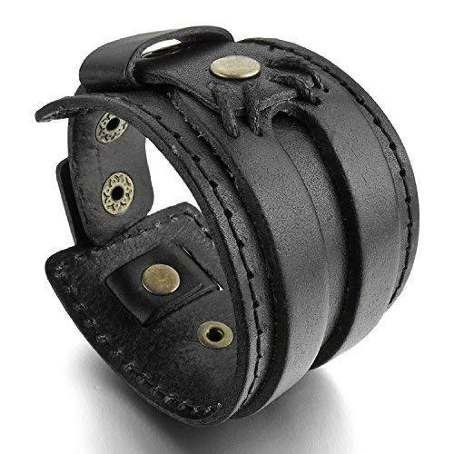 Leder-Armband für Herren und Damen von Mendino, breit, handgefertigt -