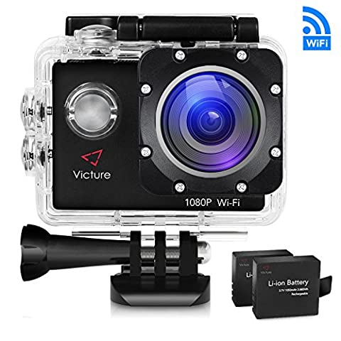 Victure Sports Action Camera WIFI 14MP Full HD 1080P Waterproof Motorcycle Helmet Cams 30M Underwater Diving Camera with 2 Inch LCD Screen 170° Wide Angle Lens 2 Pcs Rechargeable