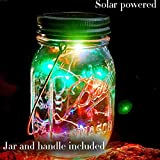 Solar-powered Mason Jar Lights Wide Mouth Waterproof String Light Hanging Glass Lantern 10 LED Solar Bulbs Outdoor Path Lighting Mason Jar Lamp for Patio Garden Decor Wedding Bedroom