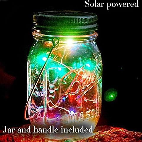 Bocal solaire col large Étanche Guirlande lumineuse à suspendre Lanterne en verre 10ampoules LED solaire extérieur chemin éclairage Bocal lampe pour décor de jardin Patio Mariage Chambre à coucher