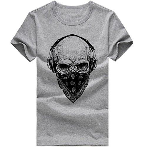 ASHOP Herren Mode Bedrucktes T-Shirt Rundhals Kurzarmshirt Vintage T-Shirt Print Shirt Muscle Slim Fit Sweatshirt für deinen trainierten Körper (M-3XL) (Grau, 3XL)