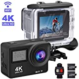 Adofys Touch Screen Sports Action Camera, 4K Waterproof Sport Camera,170 Degree Wide Angle WiFi HD Cam, 12MP With 2 Rechargeable Battery And Battery Charger