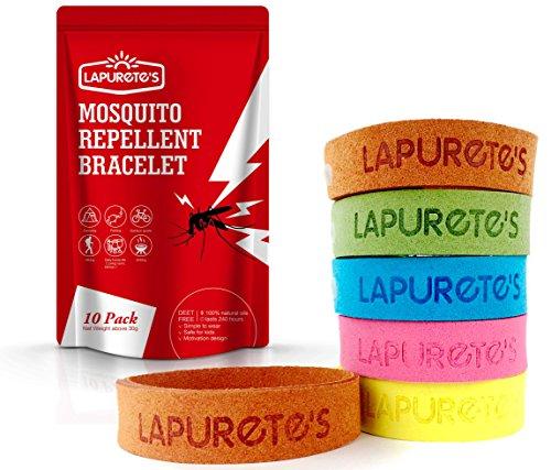 Lapurete's ®Mückenschutz Armbänder - 10 Pack - Natürliche Käfer und Insektenbekämpfung DEET-FREI, Schutz für bis zu 250 Stunden.