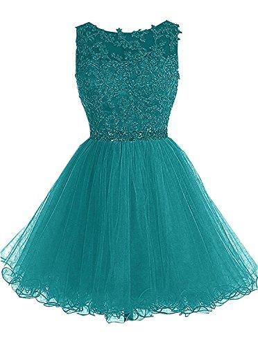als ärmellos Kurzes Kleid Spitze Applikationen Perle Strasssteine Gürtel Tunnelzug Abschlussball Kleid der Brautjungfer (Perlen Applikationen Für Kostüme)