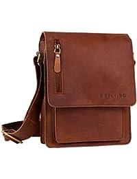 STILORD Piccola borsa da uomo a tracolla in pelle Borsello Messenger Cuoio a Spalla per Viaggi Escursioni, marrone cognac