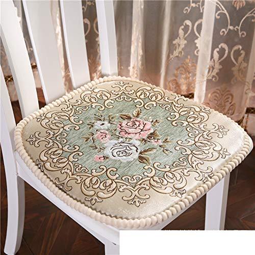 WJT@YX Europäische Muster Stuhl-Pads, Home Sitzkissen Weich Speisesaal Stuhl Kissen Dick Auto-Kissen Sofa dämpfung Chenille gewebe Elastische Schwamm-D 48x48cm(19x19inch) -