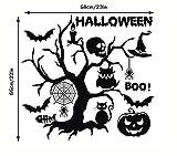 Schläger Eule Halloween Mauer Aufkleber Baum Kunst Wandgemälde Tier Tapete Abziehbilder Skelett Abnehmbar Wasserdicht DIY Zuhause Küche Fenster Dekoration , 5 set , 58*55cm