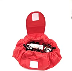 Waymore Portable Makeup Bag Waterproof Drawstring Makeup Storage Organizer Red Colour