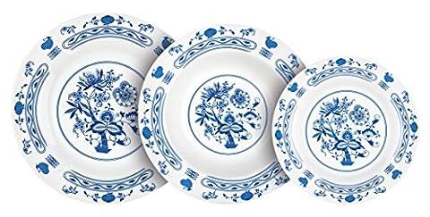 Banquet Traditional Decor Porcelain Dinnerware Set, White/Blue, Set of 18