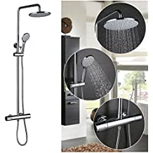 auralum lgante douche thermostatique chrome dfinit mur sets de douche apparents de contrle automatique de - Douche Avec Tuyau Apparent