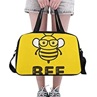 Plosds Hard Working Little Honey Bee Custom Large Yoga Gym Totes Fitness Handbags Travel Duffel Bags With Shoulder Strap Shoe Pouch For Exercise Sports Luggage For Girls Mens Womens Outdoor