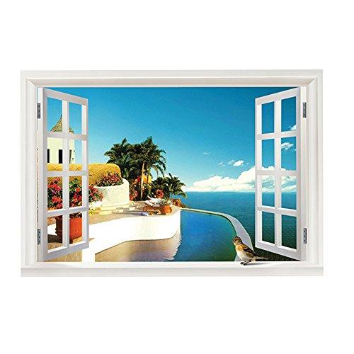 Preisvergleich Produktbild HSLwandsticker - wandtattoo meerblick mit 3d - fenster fur die schlafzimmer und wohnzimmer - farbe