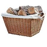 Habau Holzkorb mit Metallrahmen und Leinen - 2