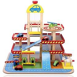 Arshiner Aparcamiento de Juguete Garage Infantil con 3 Plantas de Madera Set de Juguete de Construcción con Helipuerto, Estación de Servicio, Lavado de Coches y Estación de Peaje de Autopista para Niños