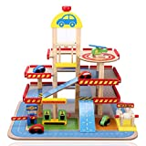 Smibie Wooden Park Garage Toy Three-Level Kids Traffic Car Park Track Toy wit 4 Cars