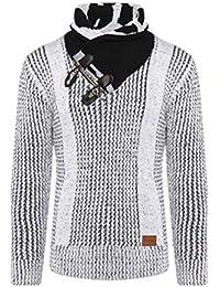 Raff Taff Herren Grobstrick Pullover Klassissch Rollkragenpullover Casual  Stehkragen Kuschelig warm Sweater (Weiß, ... ddea5b321a