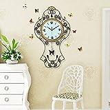 Y-Hui Die Stille Im Wohnzimmer Wanduhr Home Art Deco Swing Uhr Tabelle großen 20-Zoll große, weiße 70 W41 Gelb und Weiß Diamond