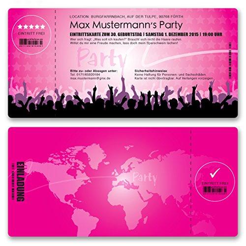 (30 x) Einladungskarten Geburtstag Eintrittskarte Party Ticket Einladungen Mädchen