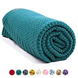 mimixiong Coperta bimbo in maglia per bambini, 100 x 80 cm(Blu verde)