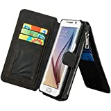 Noir Coque en Cuir pour Samsung Galaxy S7 Edge G9350 - Yihya Multi-function 2 in 1 Detachable Leather Housse Etui Folio Flip Wallet Stand Case Cover avec Card Slots --Black