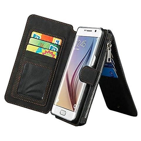 Multi-function Wallet Case Hülle für Samsung Galaxy S7 Edge G9350,Yihya 2 in 1 Detachable Leather Lederhülle Tasche Schutzhülle Etui Flip Wallet Stand Cover mit