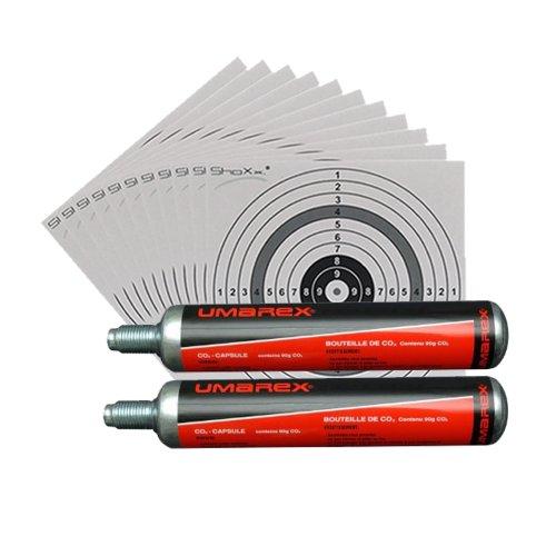 2 Umarex Co2 Kapseln 88g für Gotcha / Softair / Paintball + 10 ShoXx.® shoot-club Zielscheiben 14x14 cm mit zusätzlichen grauen Ring und 250 g/m²