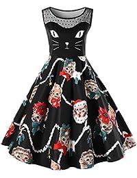 a3b9bfbabf792 RoseGal Women's Christmas Plus Size Dress Kitten Print Party Swing Dress  Mesh Insert Sleeveless Novelty Dress