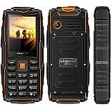 VKworld Stone V3 la más nueva versión IP68 impermeable a prueba de choques a prueba de polvo Teléfono celular al aire libre teléfono móvil Tri-sim teléfono para ancianos mayor batería larga tiempo de espera con luces LED más extra 8GB tarjeta de memoria, naranja