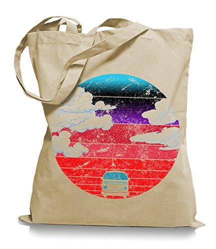 Ma2ca® Camper Bus - Jutebeutel Stoffbeutel Tragetasche / Bag WM101 Sand