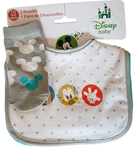 1244eed6c47d Bavoirs Velcro DISNEY 2 Bavoirs + 1 Paire de Chaussettes (Mickey et Pluto)