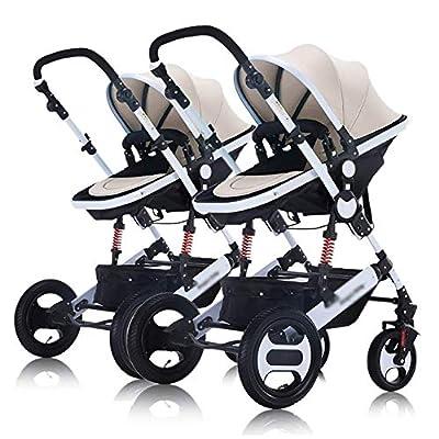 LQRYJDZ Cochecito de bebé Gemelo El Carro de Cochecito Doble Desmontable se Puede sentar y acostarse Plegable de Alto Paisaje -5 Puntos Sistema de Seguridad 2 en 1