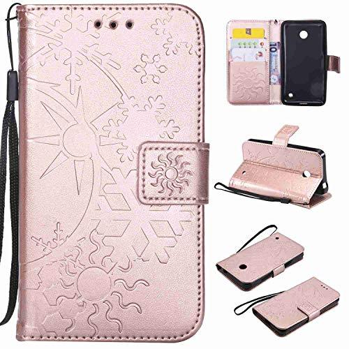 Ycloud Einzigartig PU Leder Tasche für Nokia Lumia 635 Wallet Flipcase mit Standfunktion Kartenfächer Entwurf Sternenhimmel Prägung Rose Gold Hülle