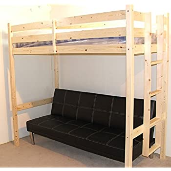 Futon Bunk Bed - 3ft single wooden high sleeper bunkbed - CAN BE USED BY  ADULTS