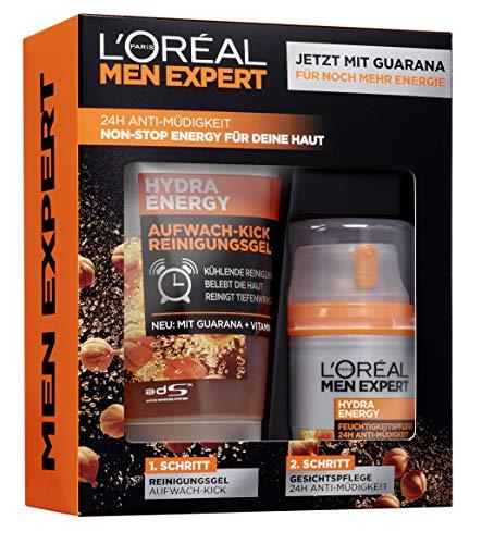 L'Oréal Men Expert Hydra Energy Geschenkset, für Männer 24H Feuchtigkeitspflege mit Guarana (50 ml) und Waschgel (150 ml) für die tägliche Gesichtspflege -