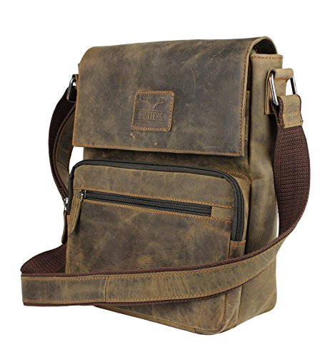Vintage Herren / Unisex Ledertasche Leder Tasche Umhängetasche Messenger Bag Robust Dunkelbraun