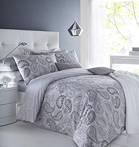 clicktostyle Paisley Grey Cotton Rich Duvet Cover Sets with Pillow Cases Bedding Set (King)