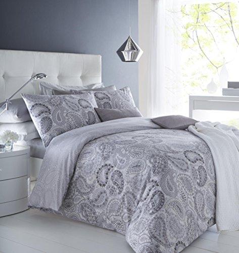 clicktostyle Bettwäsche-Set mit Paisleymuster, Grau, aus Baumwolle, dick, mit Kissenbezügen und Bettdeckenbezug, grau, Super King